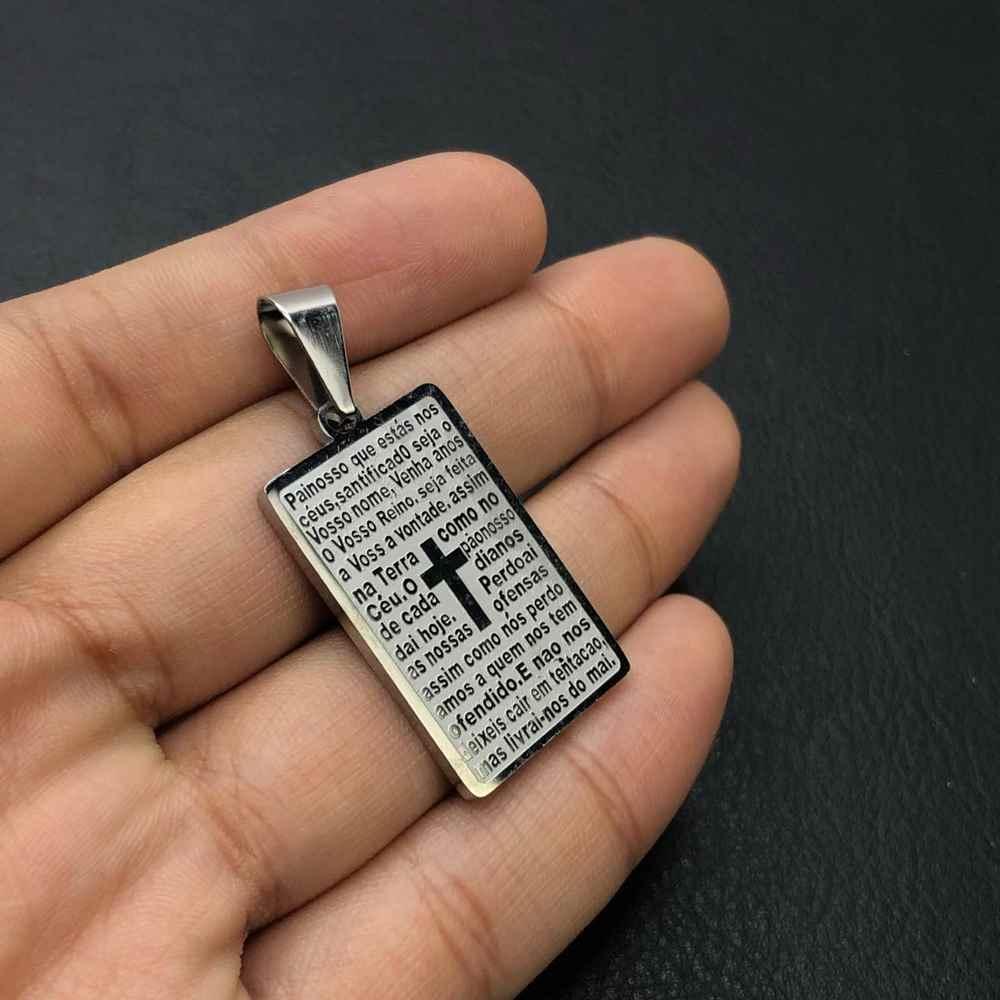Pingente de aço prata plaquinha oração pai nosso