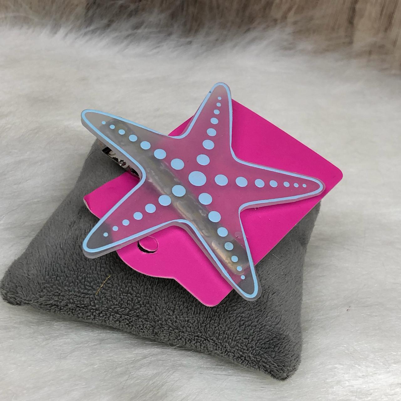 Presilha para Cabelo Estrela de Silicone Detalhes Azul
