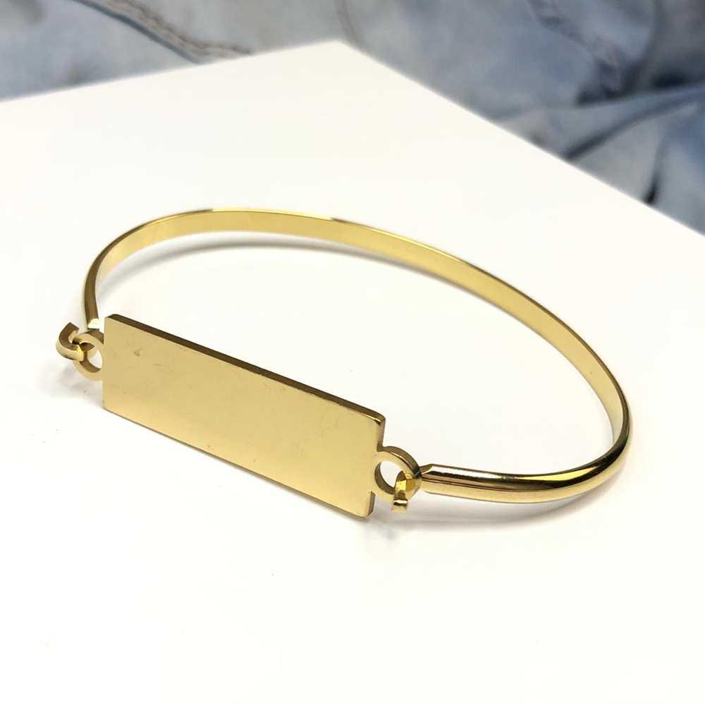 Pulseira bracelete em aço inoxidável banhado dourado placa lisa para gravação