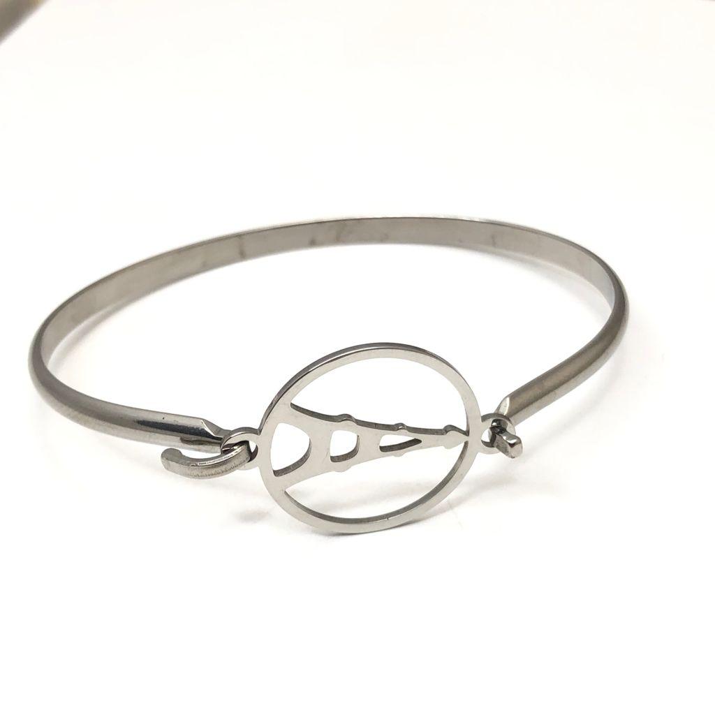 Pulseira bracelete feminina em aço inoxidável prata torre eiffel