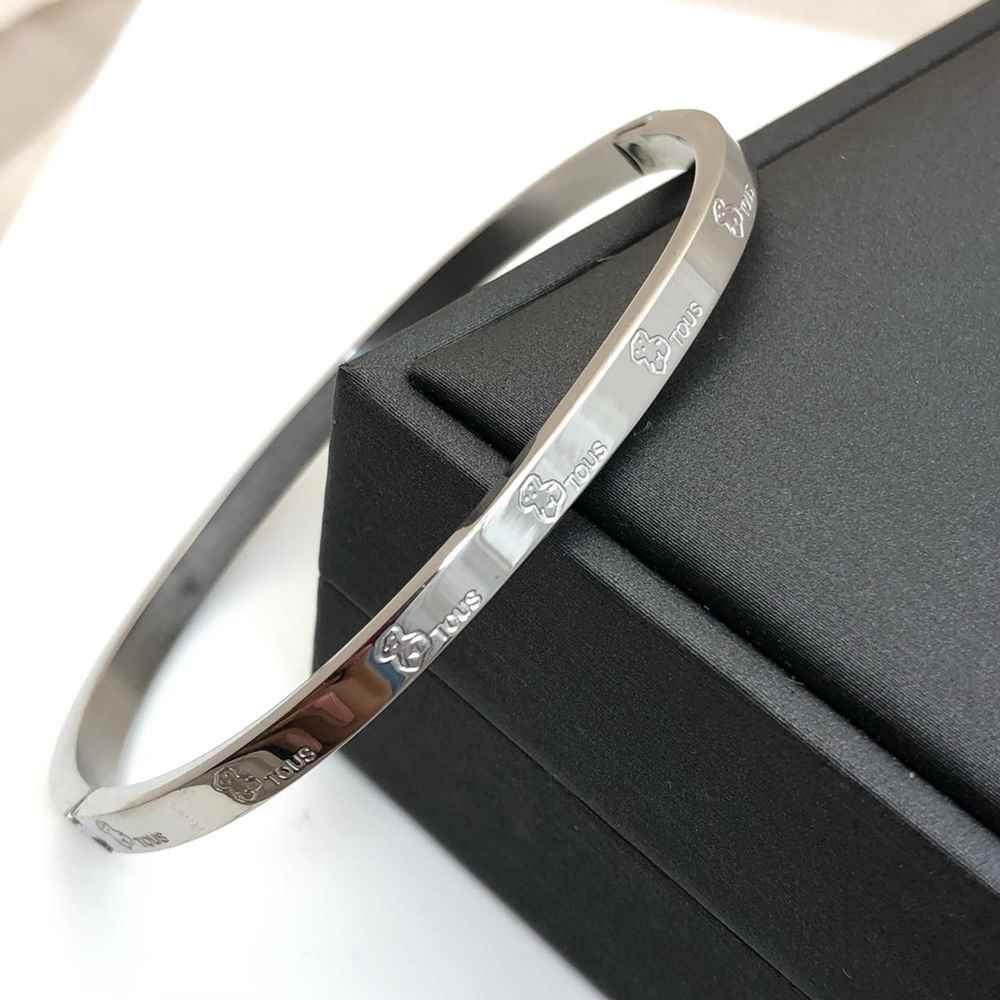 Pulseira  Bracelete Feminino Prata ursinhos 4mm Aço Inoxidável