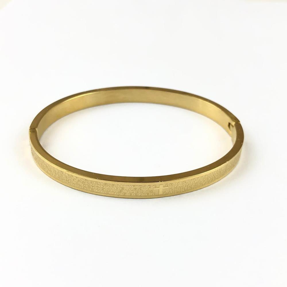 Pulseira Bracelete Masculina Oração do Pai Nosso Dourada 6mm Aço Inoxidável
