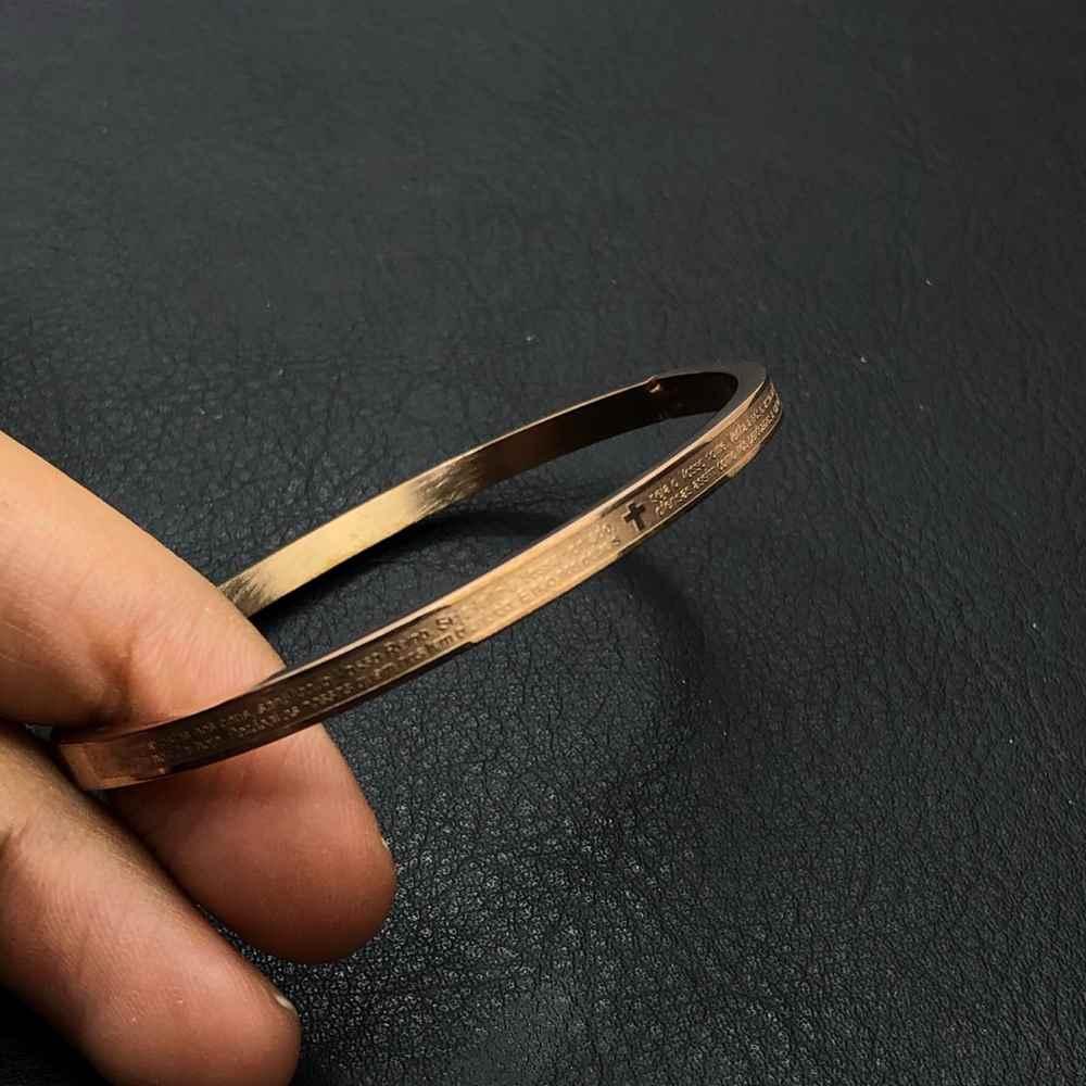 Pulseira Bracelete Masculina Oração do Pai Nosso - Rose 4mm - Aço Inoxidável