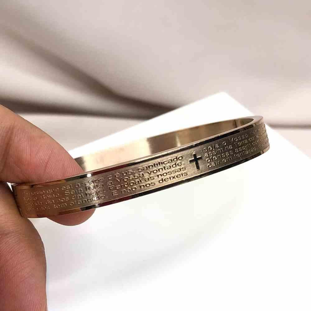 Pulseira Bracelete Masculina Oração do Pai Nosso - Rose 8mm - Aço Inoxidável