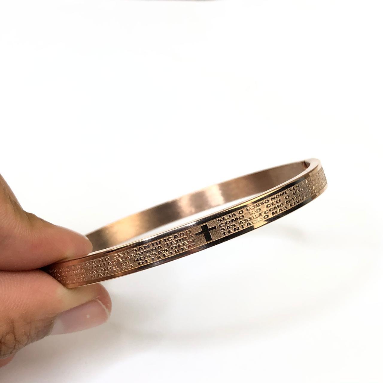 Pulseira Bracelete Masculina Oração do Pai Nosso 6mm - Rose - Aço Inoxidável