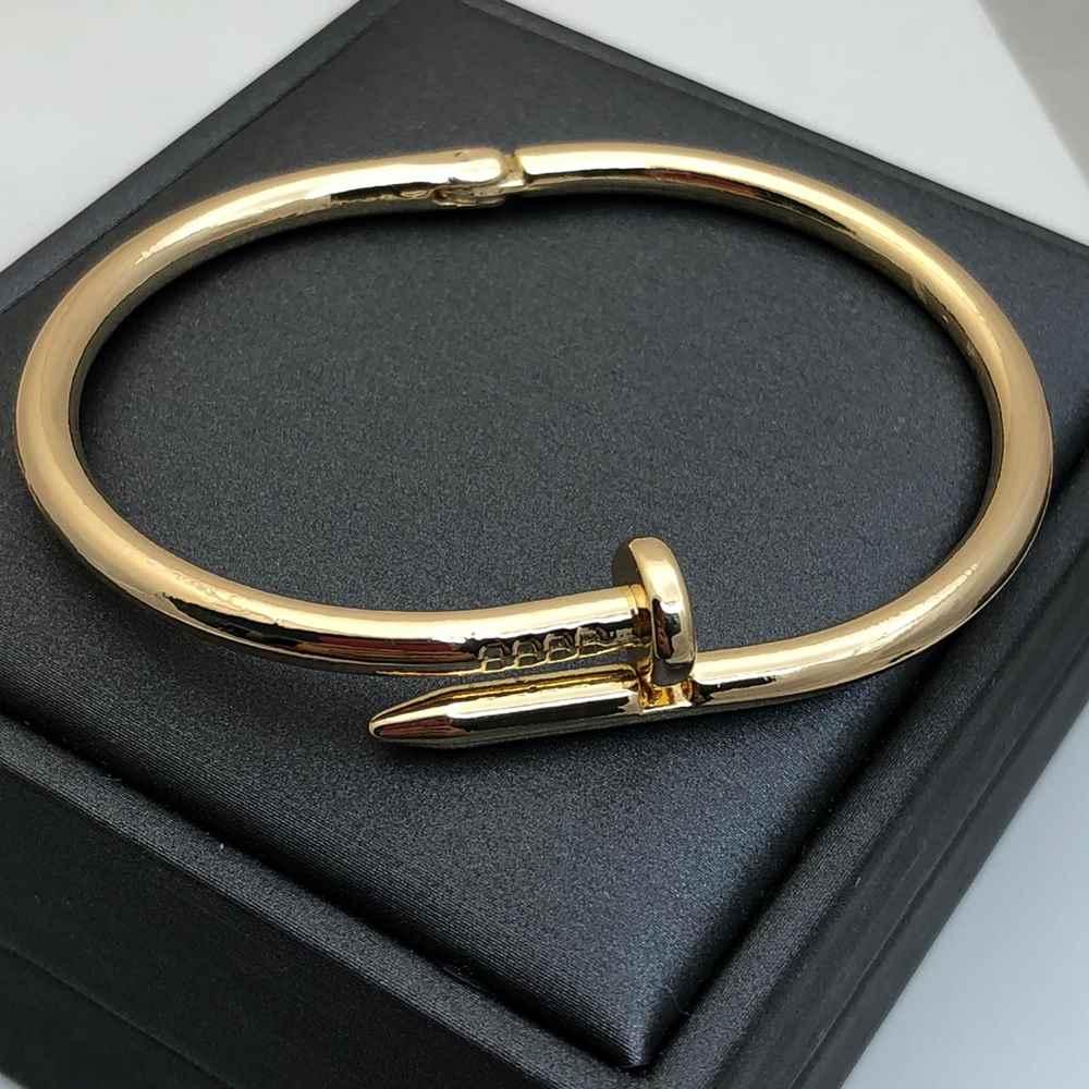 Pulseira Bracelete Masculino Bracelete Feminino banhado dourado Estilo Prego Aço Inoxidável