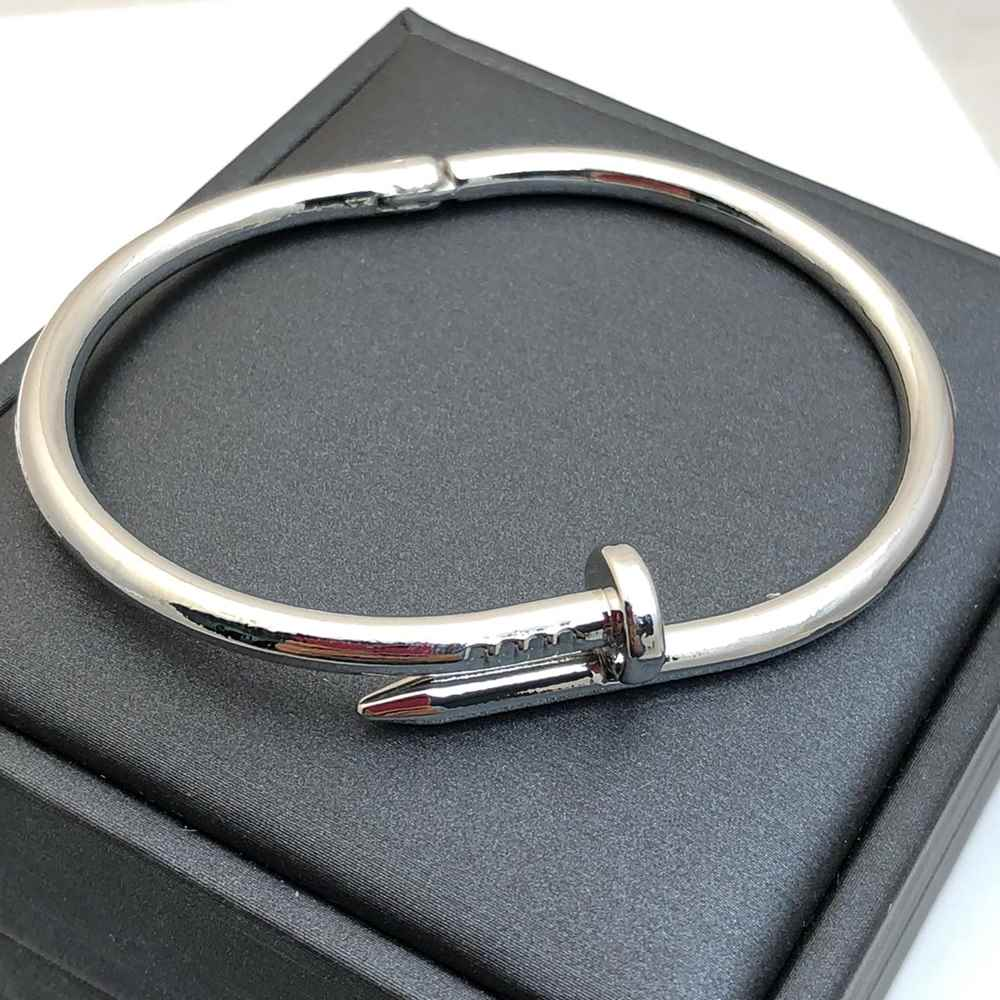 Pulseira Bracelete Masculino Bracelete Feminino prata Estilo Prego Aço Inoxidável