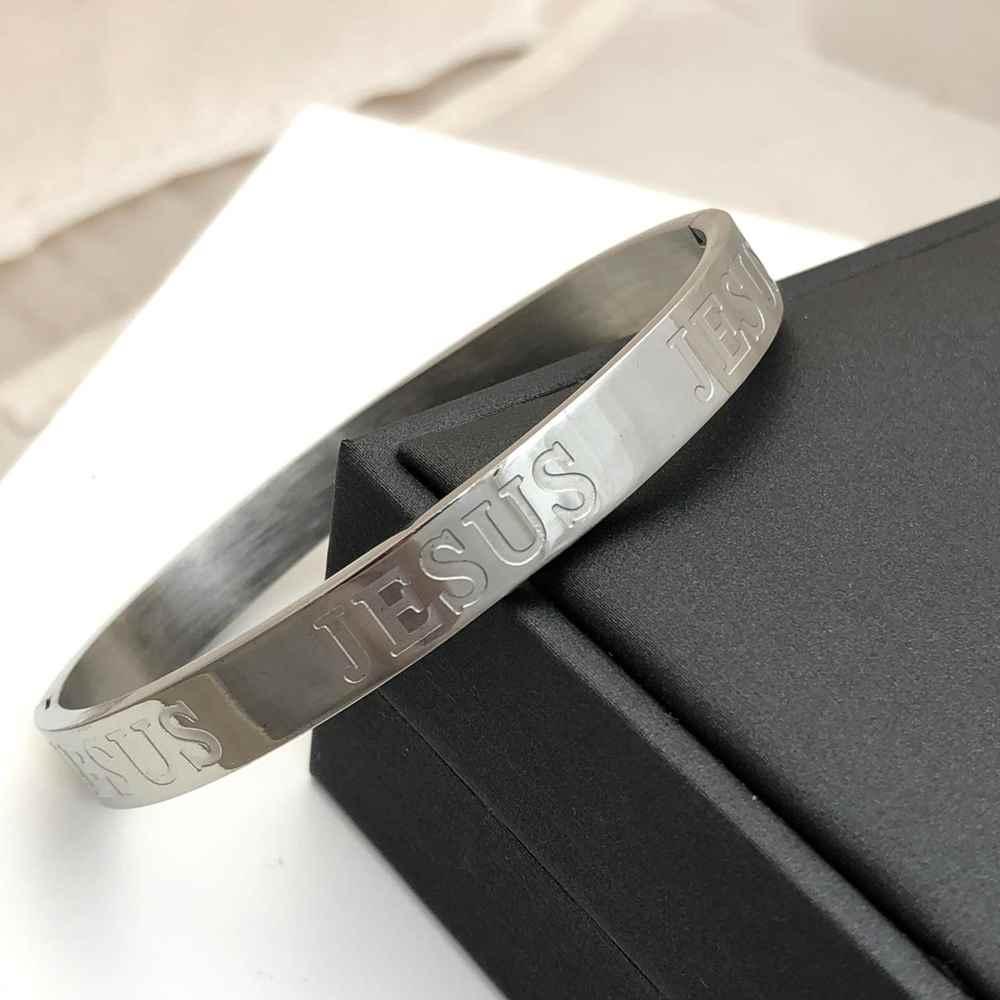Pulseira Bracelete Masculino Bracelete Feminino Prata Jesus 8mm Aço Inoxidável