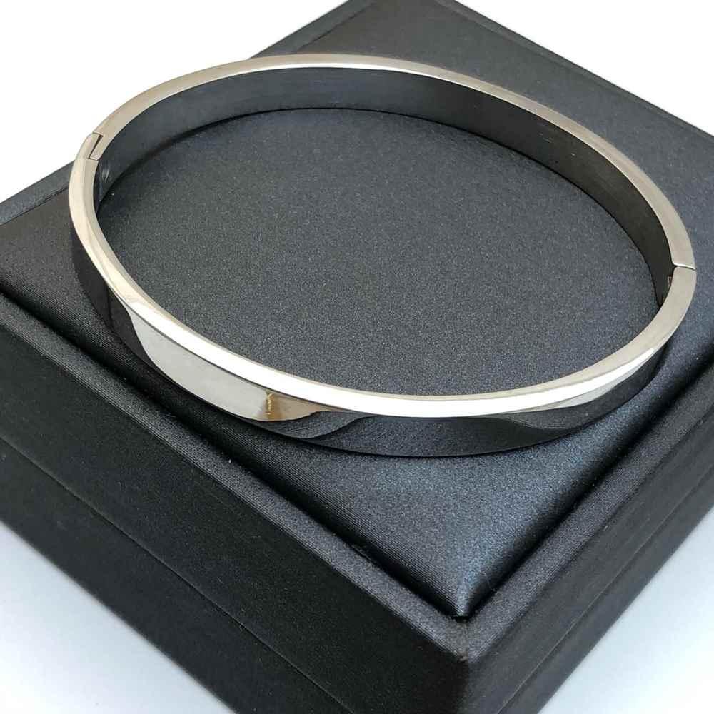 Pulseira Bracelete Masculino Bracelete Feminino Prata Liso 6mm Aço Inoxidável