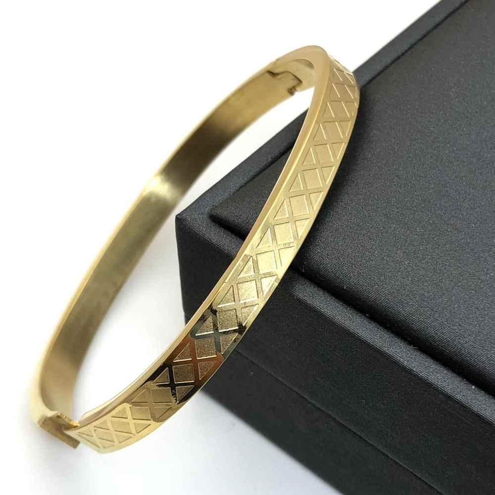 Pulseira Bracelete Masculino dourado banhado detalhado Aço Inoxidável