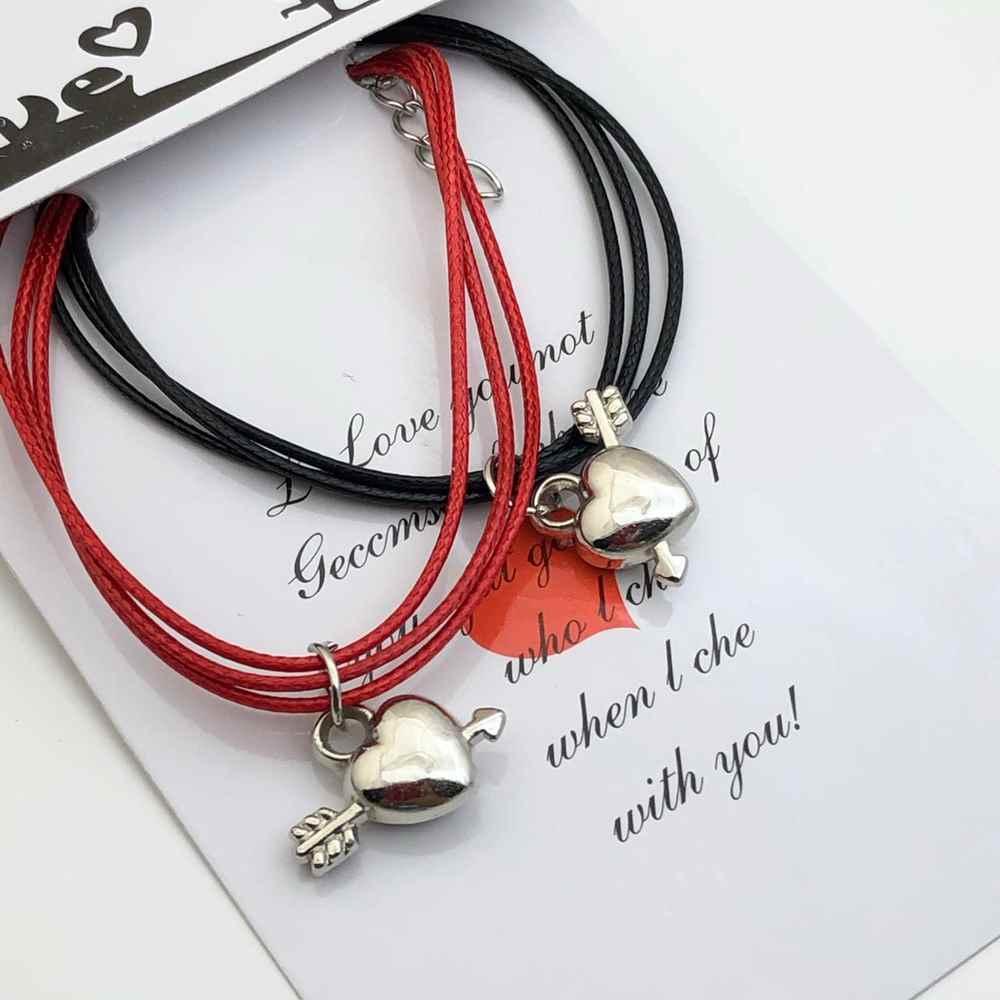 Pulseira Casal Pulseira de Amizade Kit com 2 vermelha e preta pingente coração