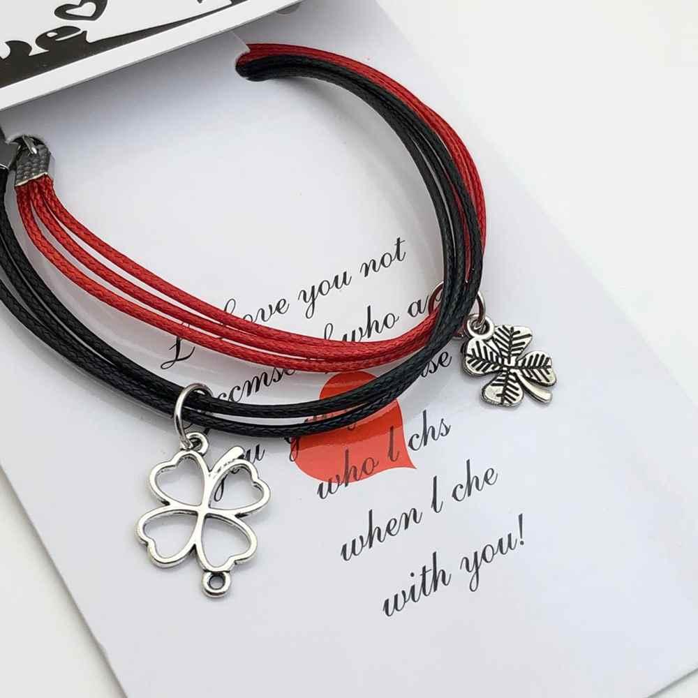 Pulseira Casal Pulseira de Amizade Kit com 2 vermelha e preta pingente trevo de quatro folhas