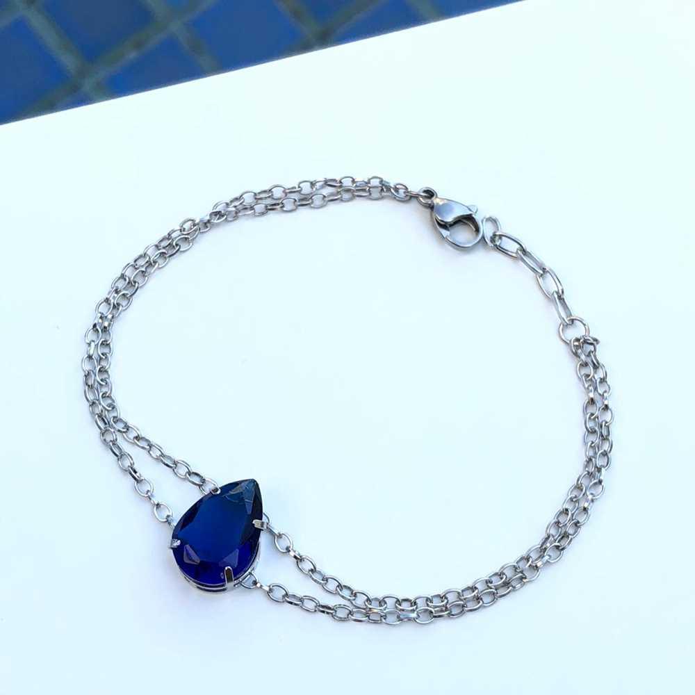 Pulseira de aço feminina dupla pingente pedra gota azul marinho