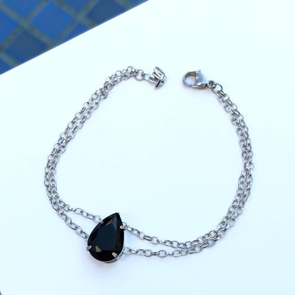 Pulseira de aço feminina dupla pingente pedra gota preta