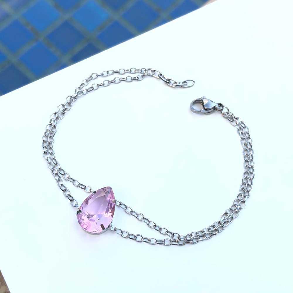 Pulseira de aço feminina dupla pingente pedra gota rosa bebê