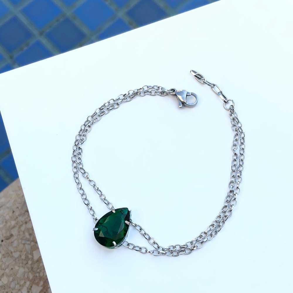 Pulseira de aço feminina dupla pingente pedra gota verde esmeralda