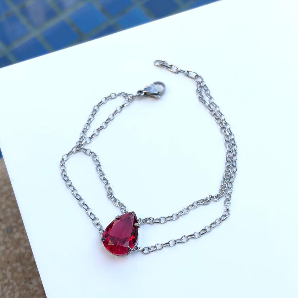 Pulseira de aço feminina dupla pingente pedra gota vermelha rubi