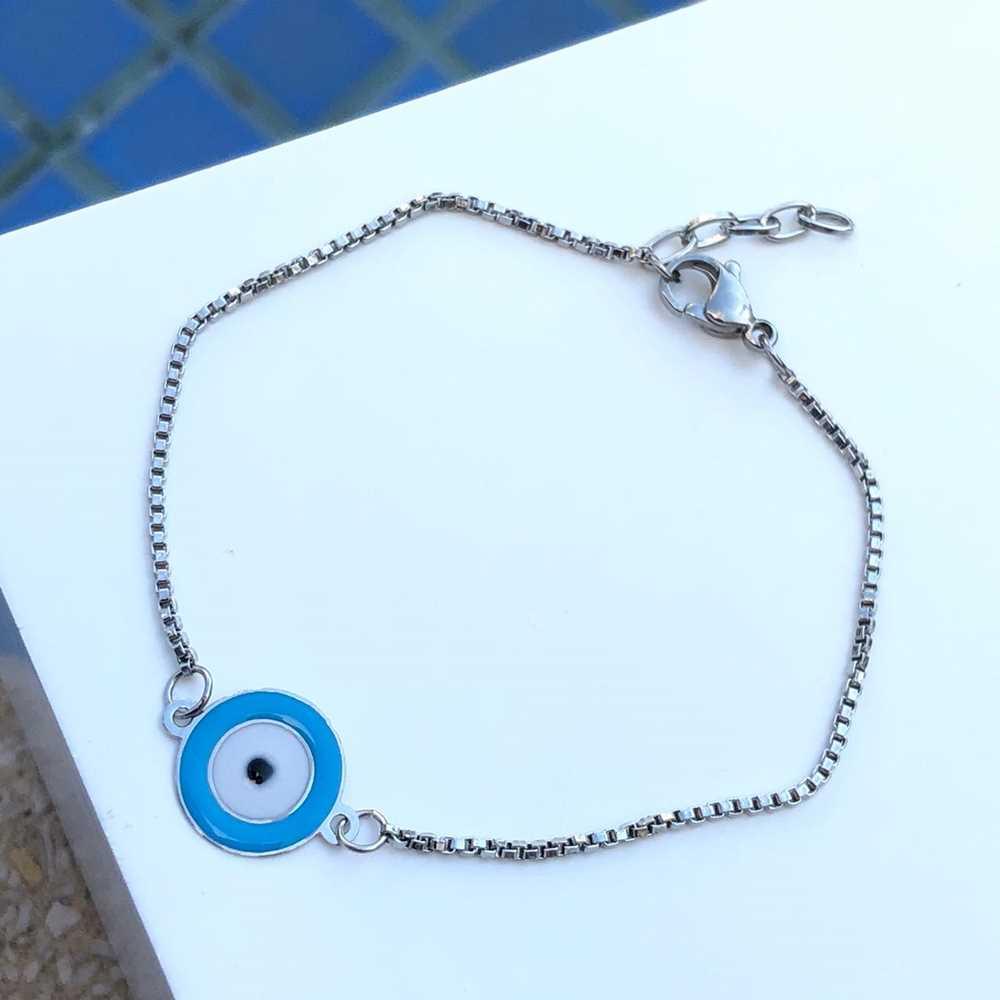 Pulseira de aço feminina pingente olho grego esmaltado azul bebê