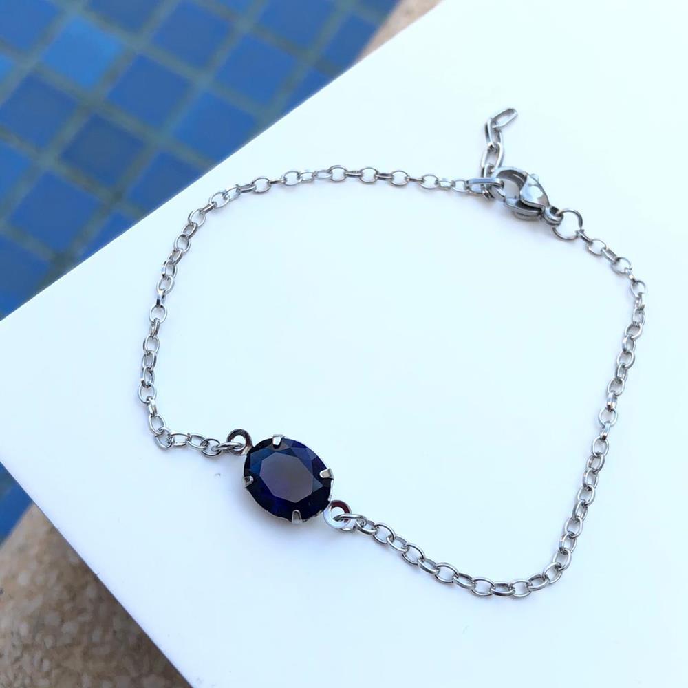 Pulseira de aço feminina pingente pedra oval azul marinho