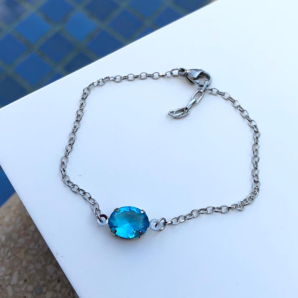 Pulseira de aço feminina pingente pedra oval azul piscina
