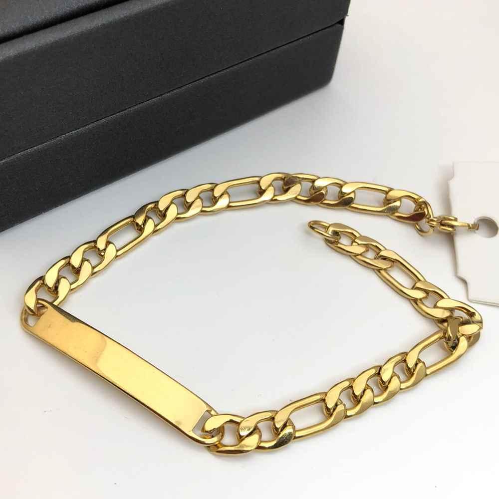 Pulseira de aço masculina dourada banhada 6mm pulseira com placa para gravar fígaro 3x1
