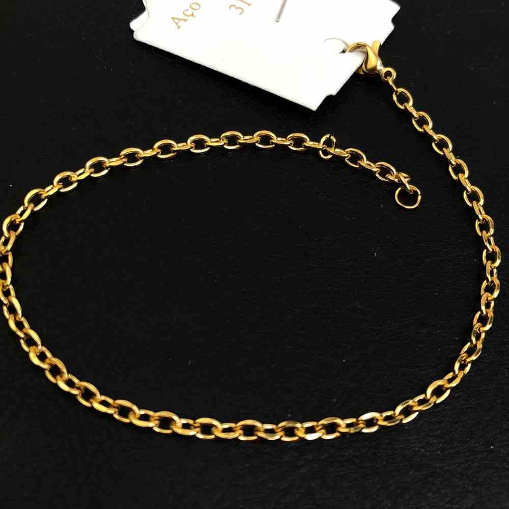 Pulseira de aço masculina dourada banhada elos abaulados 3mm aço inoxidável