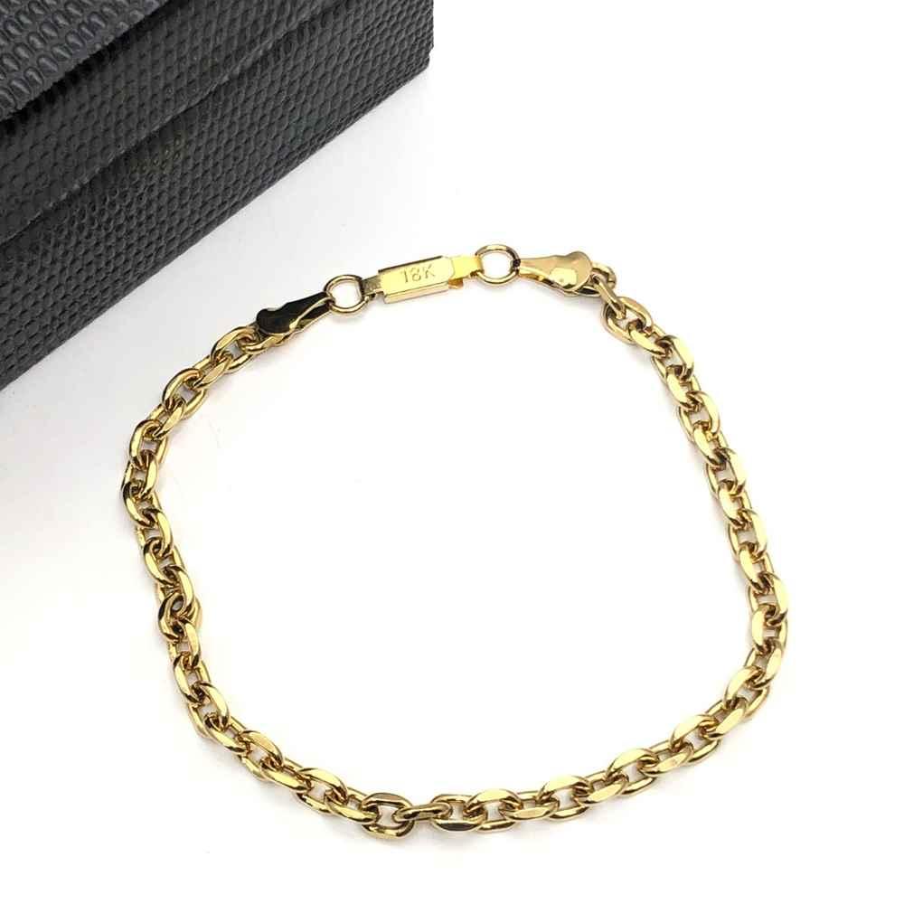 Pulseira de aço masculina dourada banhada elos cadeado 4mm