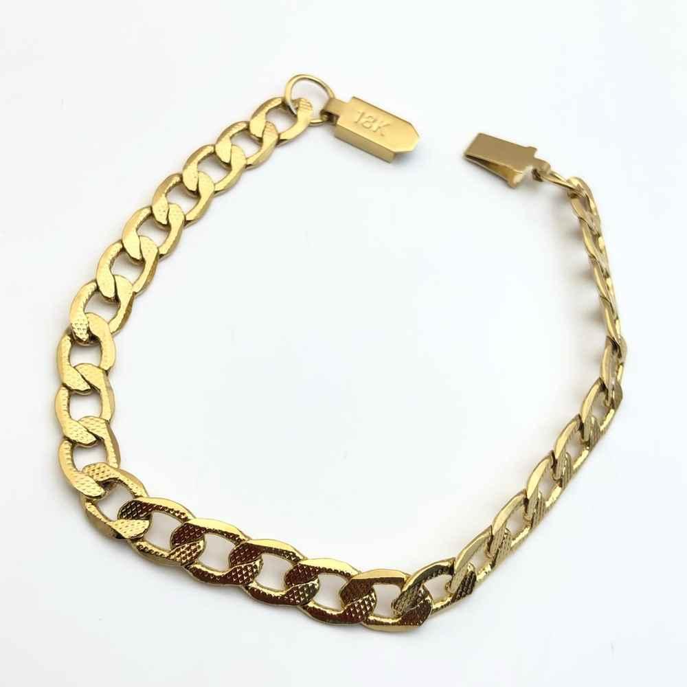 Pulseira de aço masculina dourada banhada groumet 7mm estilo cravejado aço inoxidável