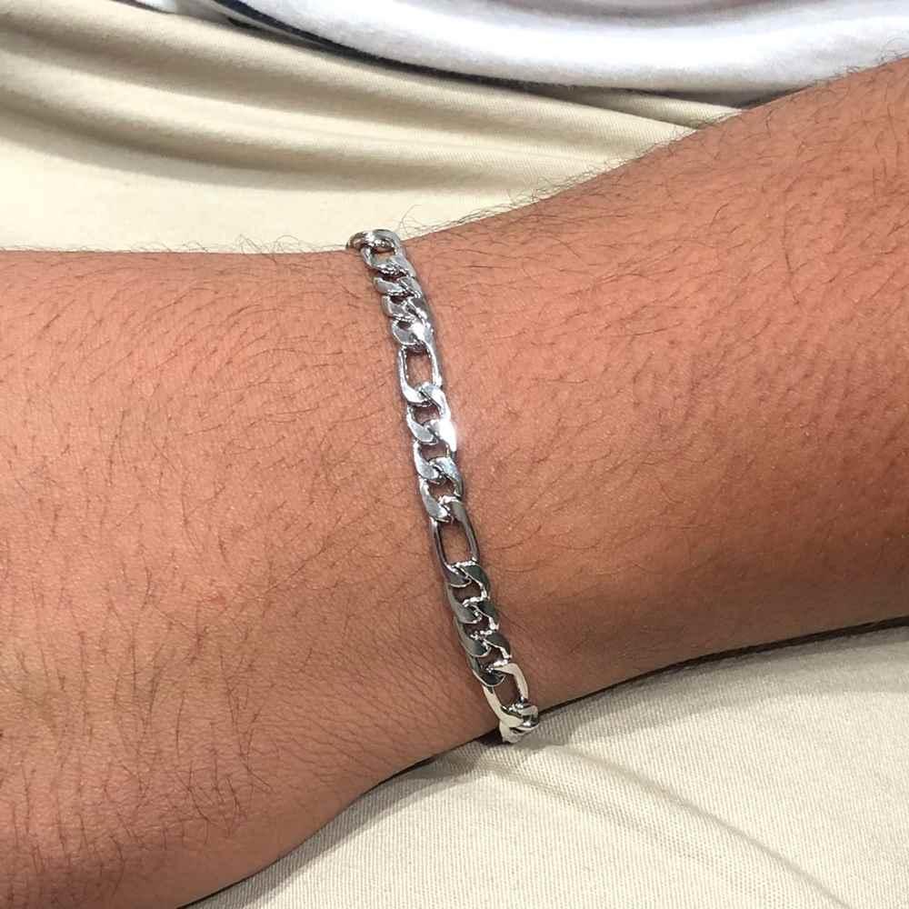 Pulseira de aço masculina fígaro 3x1 prata chapeado 6mm aço inoxidável