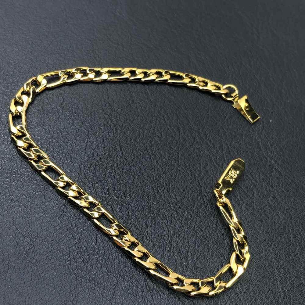 Pulseira de aço masculina fígaro chapeado dourada 6mm aço inoxidável