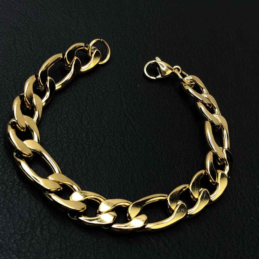 Pulseira de aço masculina fígaro dourada grossa 12mm aço inoxidável