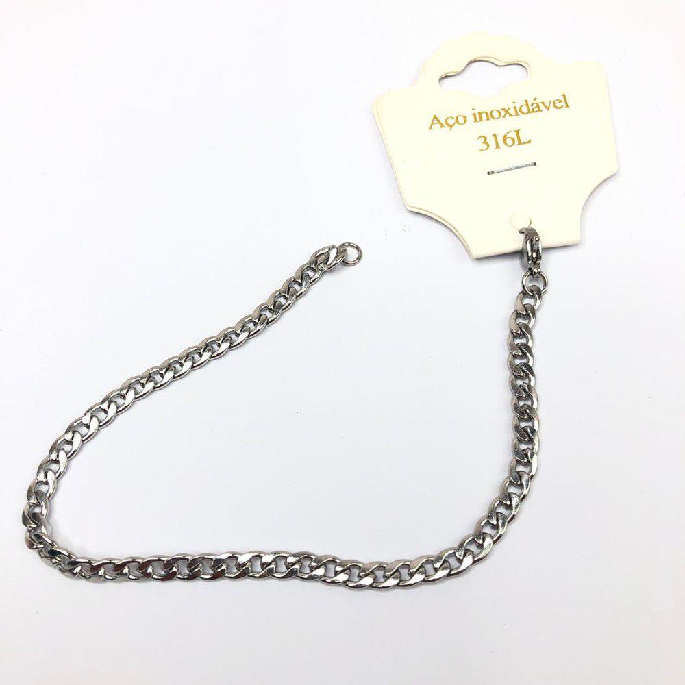 Pulseira de aço masculina groumet prata 5mm aço inoxidável