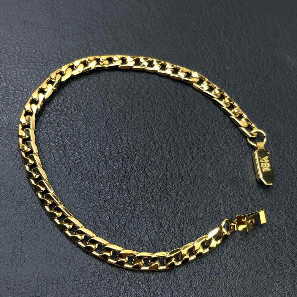 Pulseira de aço masculina groumet dourada 6mm aço inoxidável
