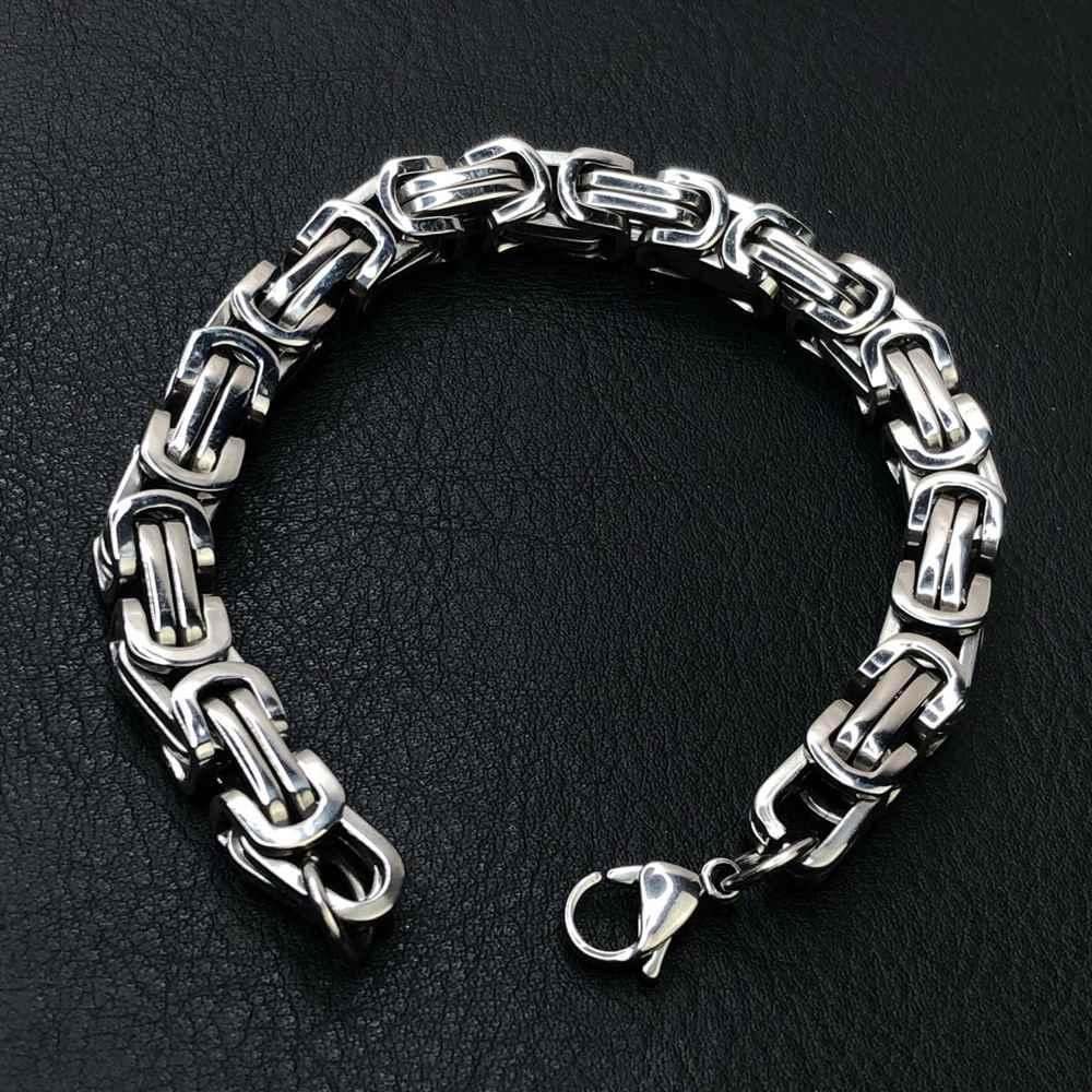 Pulseira de aço masculina peruana prata 9mm aço inoxidável
