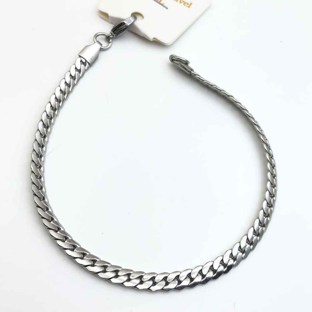 Pulseira de aço masculina prata 5mm aço inoxidavel groumet fechada lisa