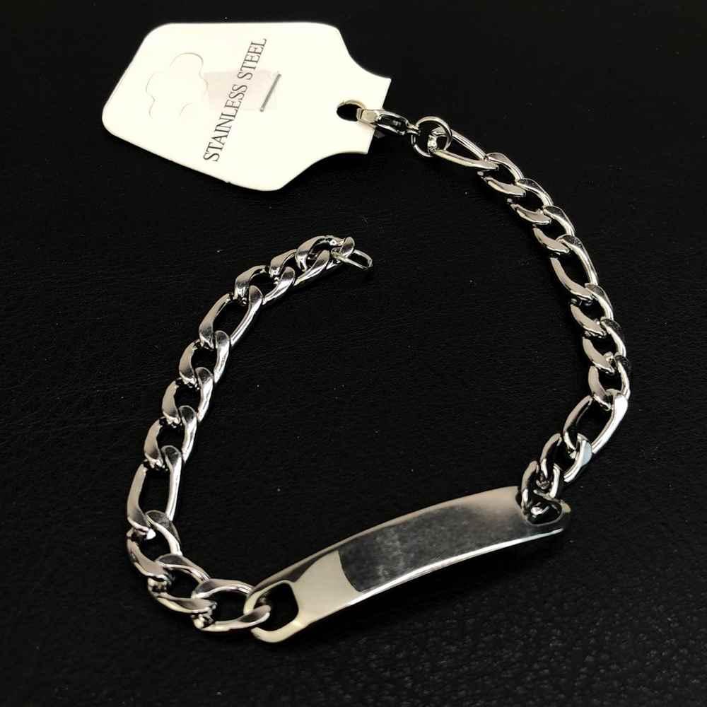 Pulseira de aço masculina prata 6,5mm pulseira com placa para gravar fígaro 3x1