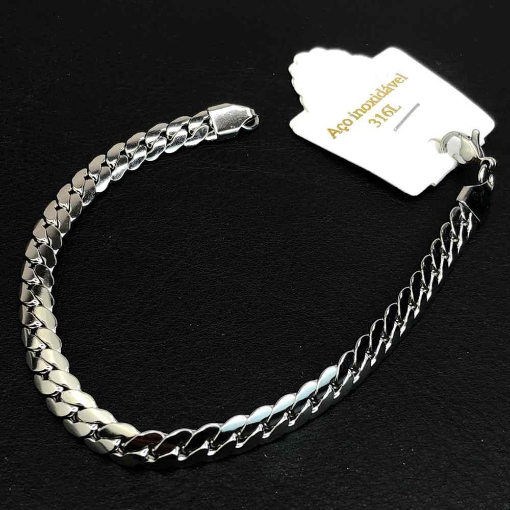 Pulseira de aço masculina prata 6mm aço inoxidavel gromet fechada lisa
