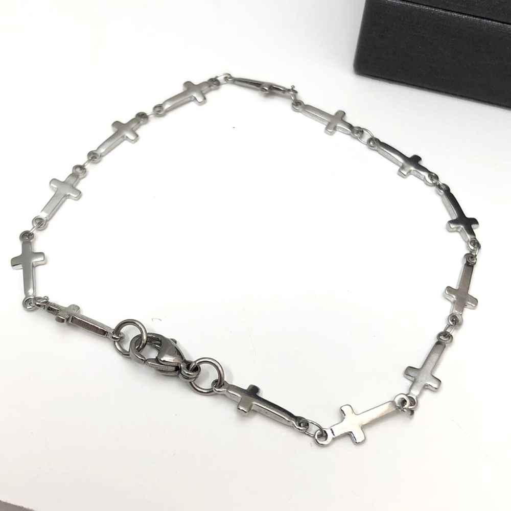 Pulseira de aço masculina prata aço inoxidável cruz