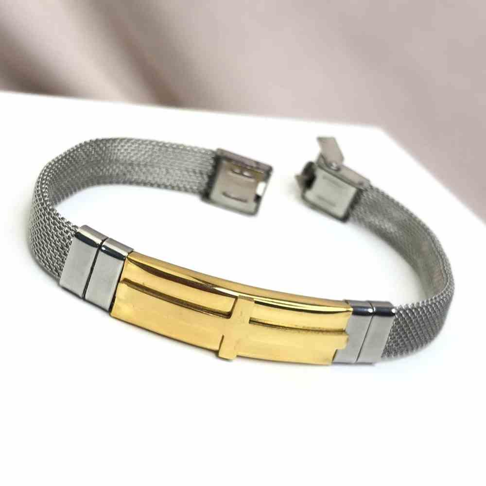 Pulseira de aço masculina prata chapa de aço dourada cruz - regulável