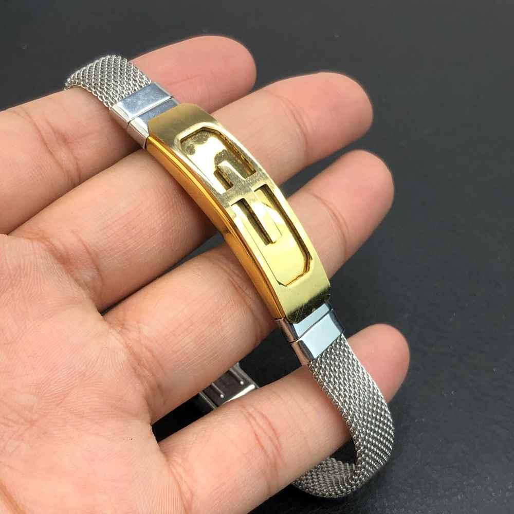 Pulseira de aço masculina prata chapa dourada banhada de aço inoxidavel cruz - regulável