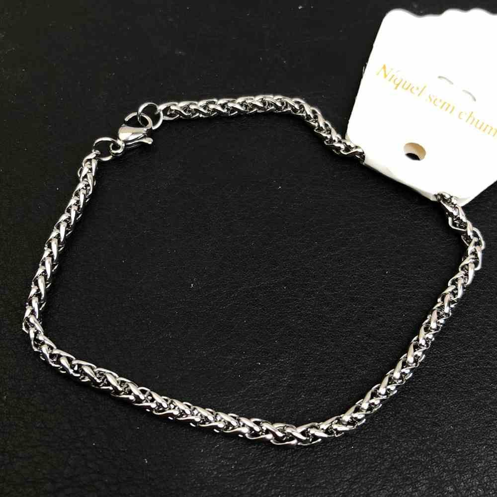 Pulseira de aço prata masculina 3mm estilo trançada