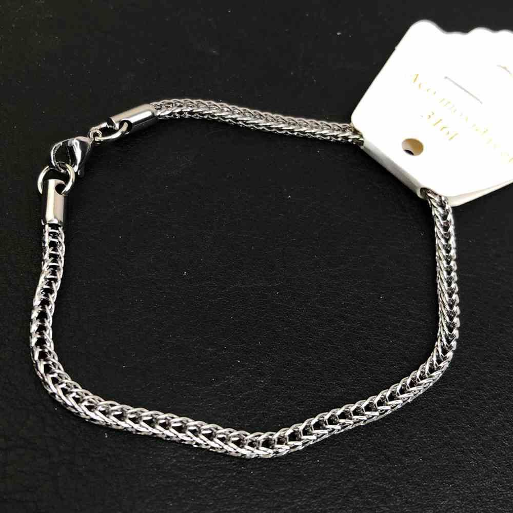 Pulseira de aço prata masculina elos duplo 3mm aço inoxidável
