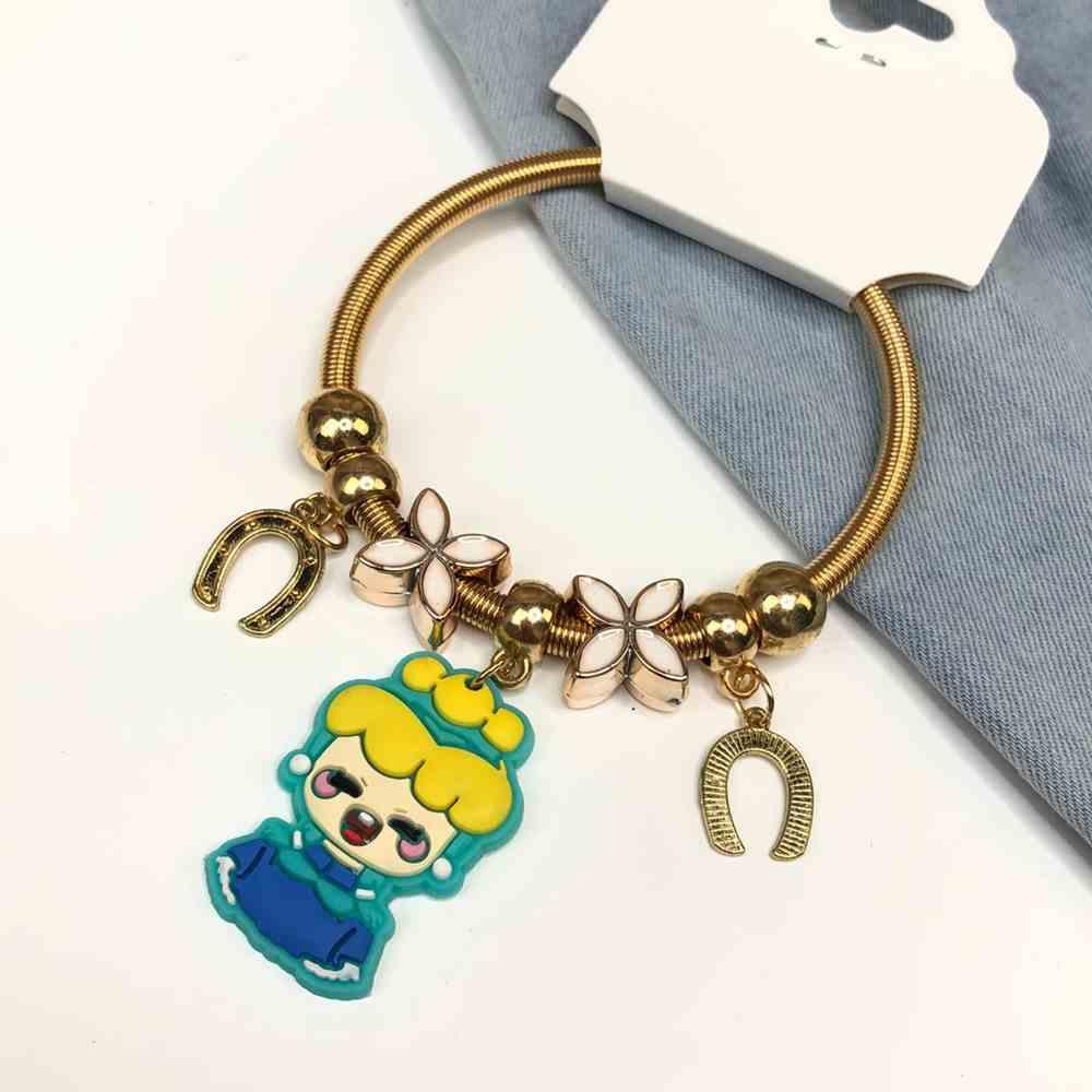 Pulseira de berloques infantil dourado pingentes variado florzinha e bonequinha azul