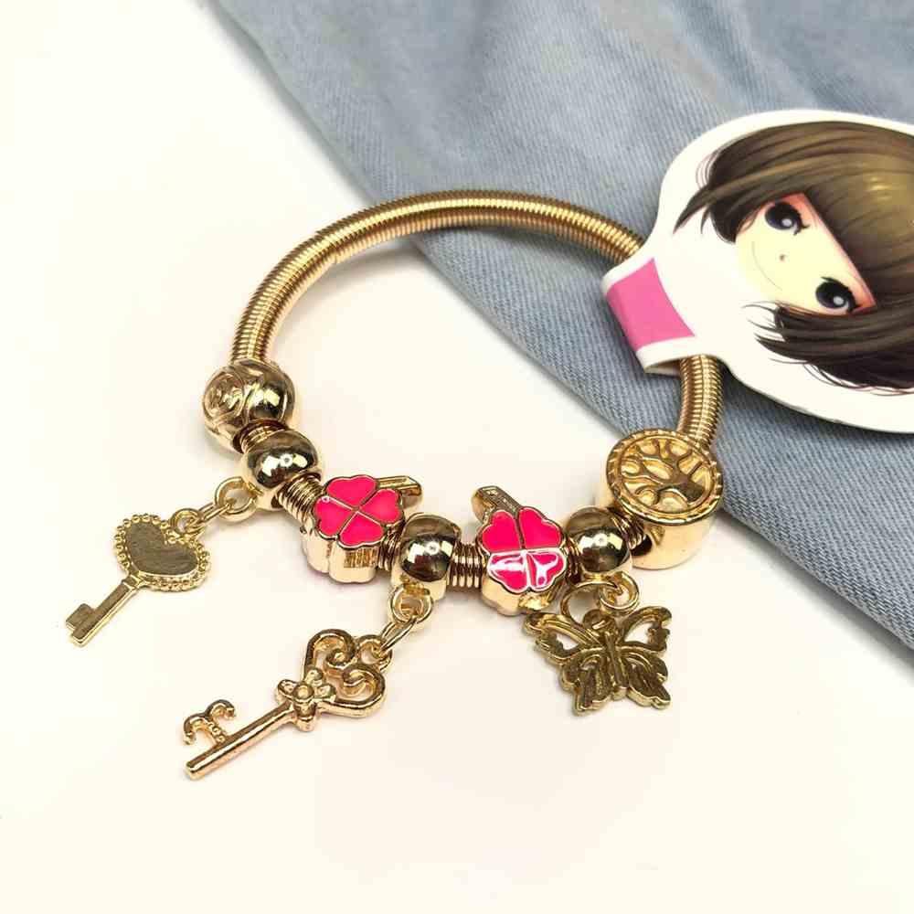 Pulseira de berloques infantil dourado pingentes variados trevo da sorte esmaltado rosa pink