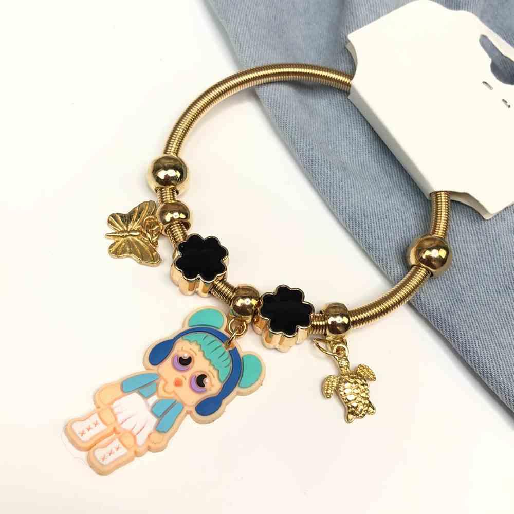 Pulseira de berloques infantil dourado pingentes variados trevo da sorte esmaltado bonequinha azul