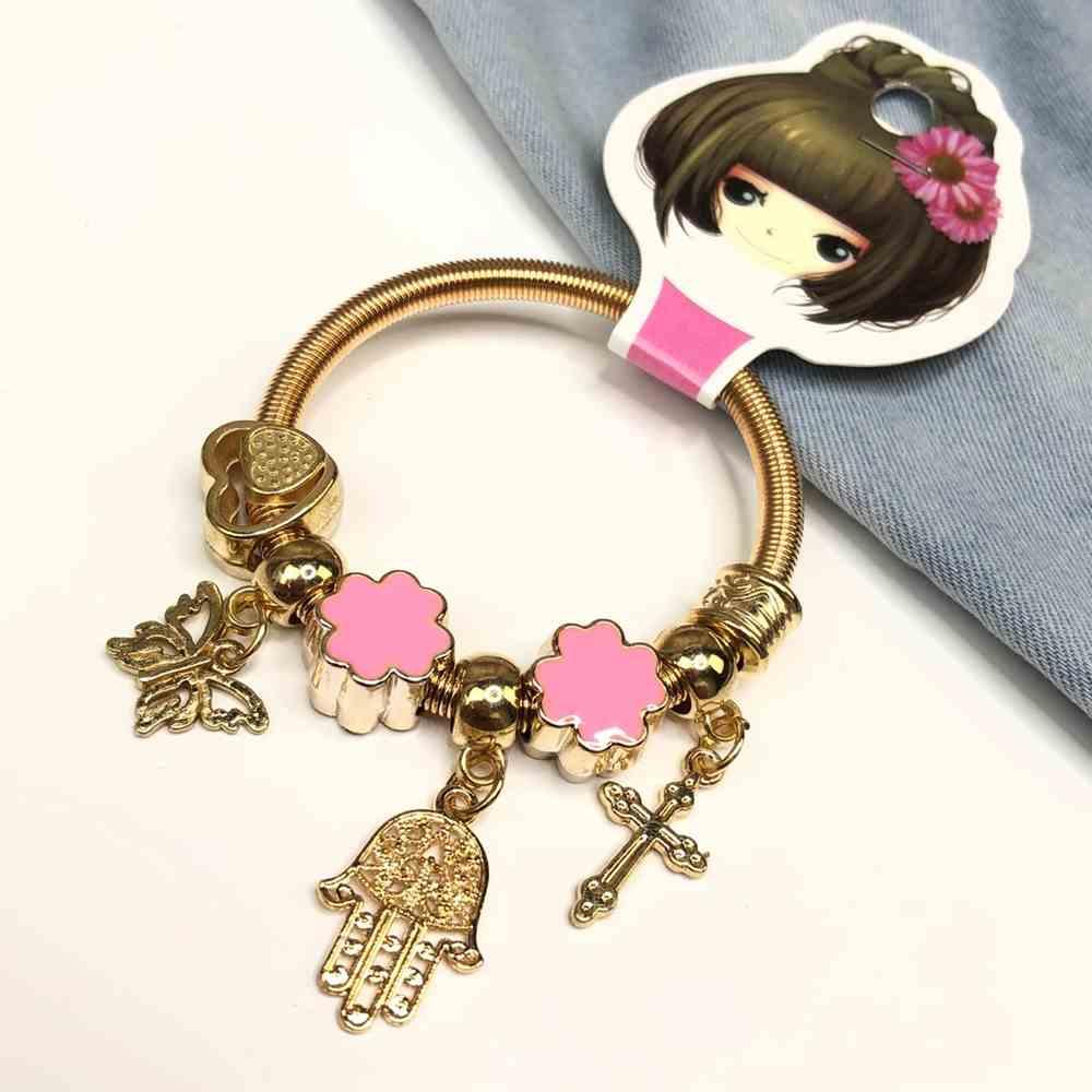 Pulseira de berloques infantil dourado pingentes variados trevo da sorte esmaltado rosa