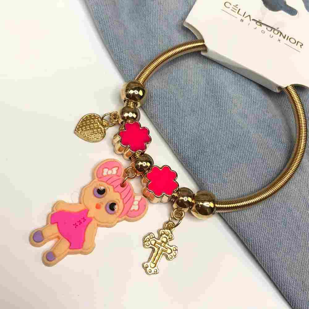Pulseira de berloques infantil dourado pingentes variados trevo pingente bonequinha rosa pink