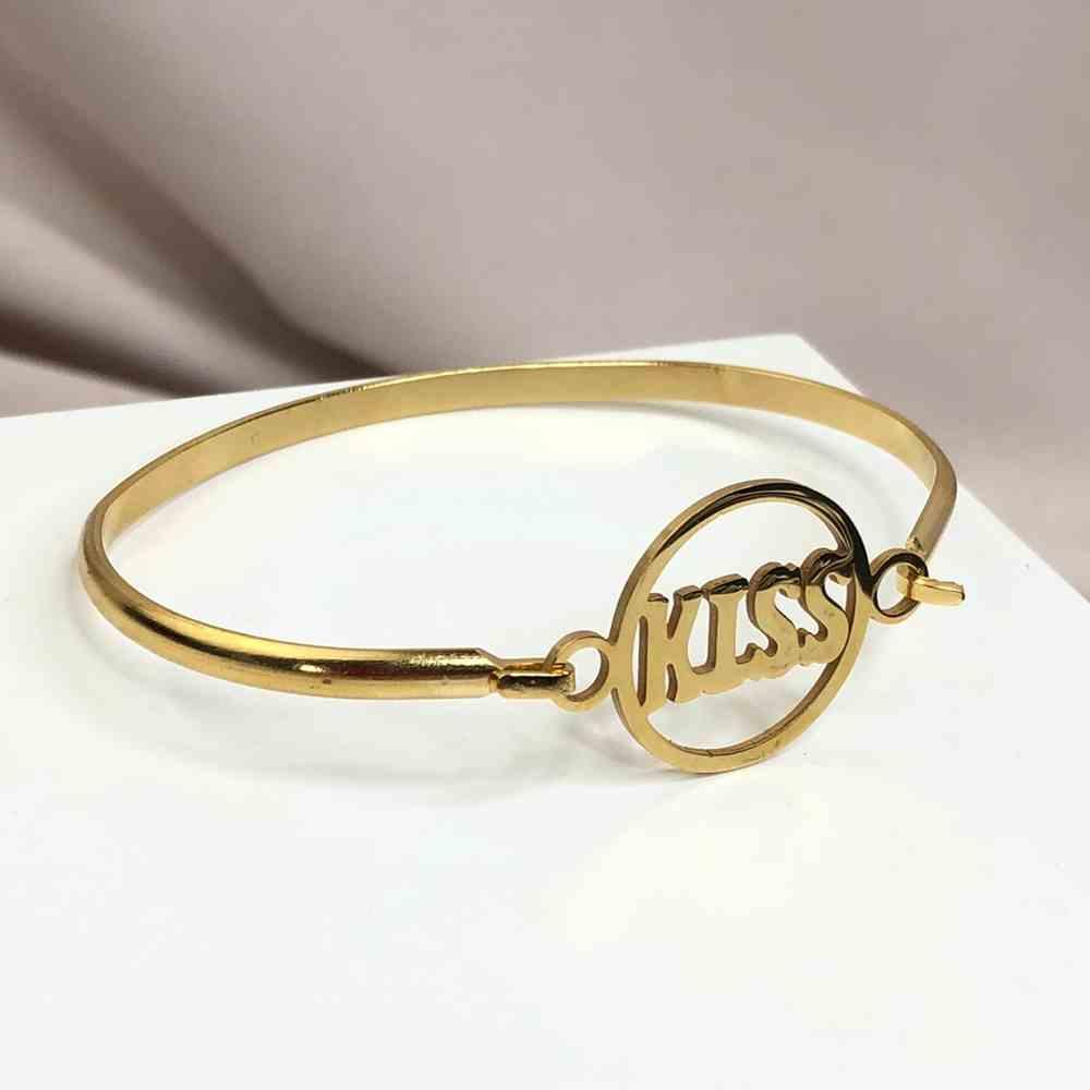 Pulseira feminina bracelete feminino banhado dourado em aço inoxidável aro redondo KISS