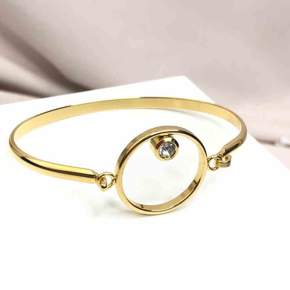 Pulseira feminina bracelete feminino banhado dourado em aço inoxidável aro vazado ponto de luz