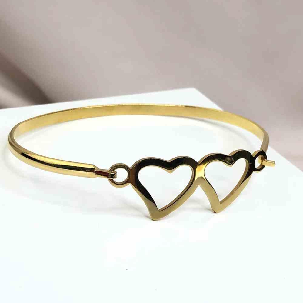 Pulseira feminina bracelete feminino banhado dourado em aço inoxidável coração duplo